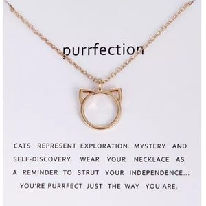 "Jewelry - Purrfection Necklace 20"" alloy Gold tone Cat Purr"